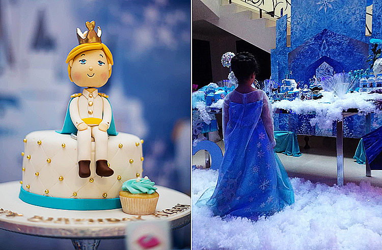 Prince Charming cake (L), A 'Frozen'-themed birthday party (R) - Candles and Confetti Events, Islamabad