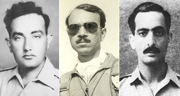 (L-R) Major Raja Aziz Bhatti, Squadron Leaders M. M. Alam & Sarfaraz Rafiqui - Celebrating 6 September Defence Day: Our War Heroes