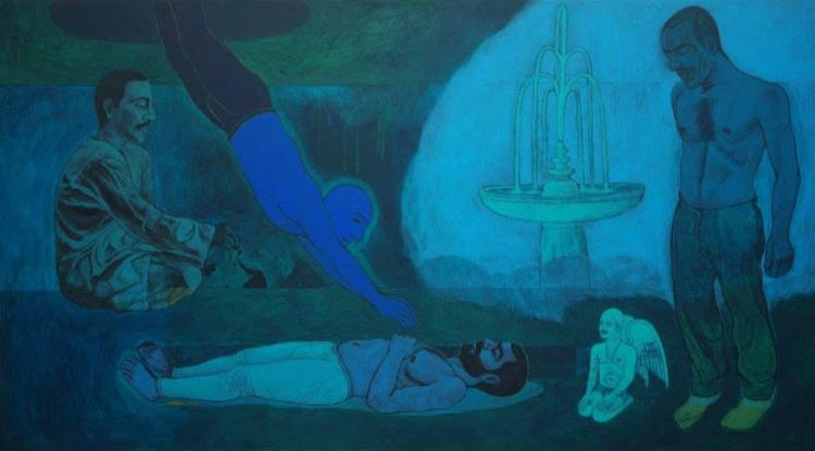 Anwar Saeed's 'Soul of the man diving back into his body' (2007) - Celebrating 70 Years of Pakistani Art