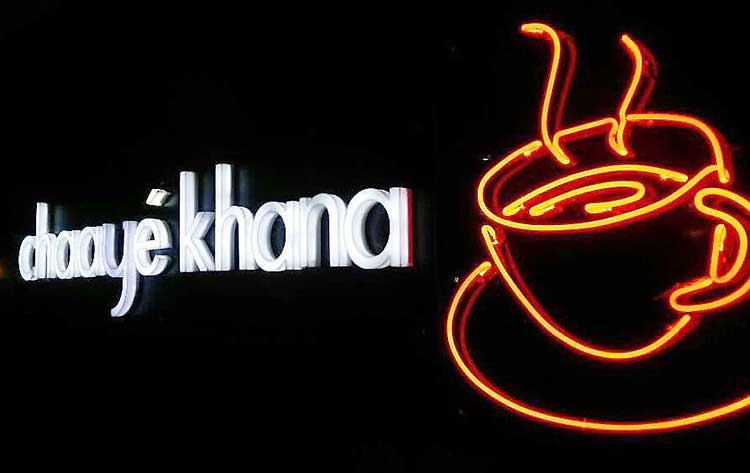 The inviting neon sign at Chaaye Khana Peshawar - Chaaye Khana Peshawar