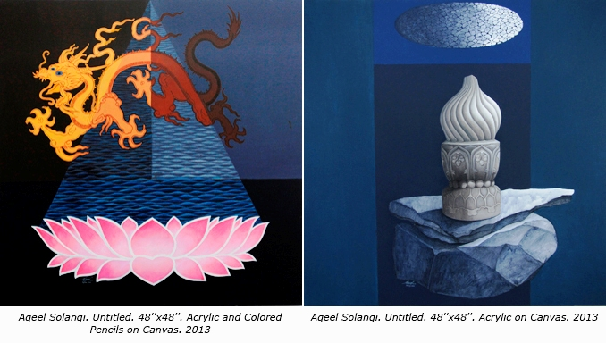 Both works were collected by the Ministry of Culture of the People's Republic of China and hold heritage value. They were also displayed at Esse space at 798 Art zone in Beijing - Chinese art by Aqeel Solangi