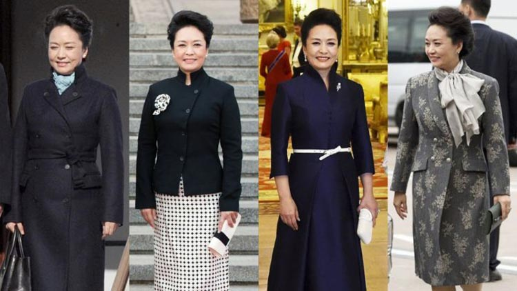 Chinese Cultural Influence over International Fashion: Peng Liyuan in outfits designed by Ma Ke
