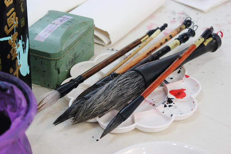 The brushes used for ink-wash painting