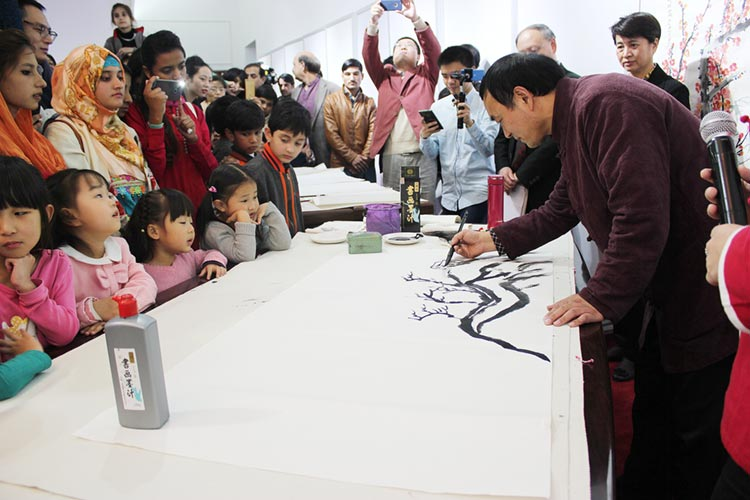 Mr. Zhu Yong's live demonstration - Chinese Ink-Wash Painting at China Cultural Centre, PNCA