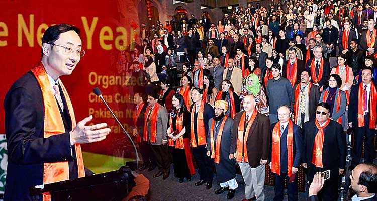 Chinese Ambassador H.E. Mr. Sun Weidong addressing the crowd at the Chinese New Year Celebration in PNCA, Islamabad - Chinese New Year Celebrations 2017 at PNCA Islamabad