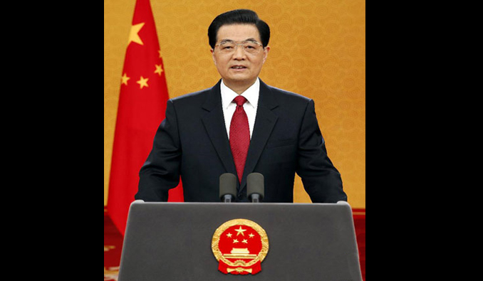 President Hu Jintao delivers his annual New Year speech via China Radio International, China National Radio and China Central Television on Monday, December 31, 2012. - CHINESE PRESIDENT HU JINTAO DELIVERS NEW YEAR MESSAGE