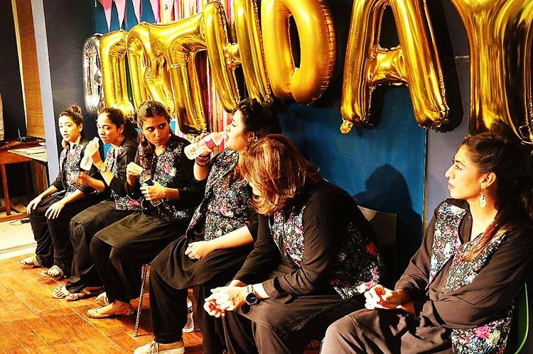 Nimra, Amtul, Laraib, Faiza, Jay and Amafah - Comedy Group The Khawatoons Celebrate their First Anniversary