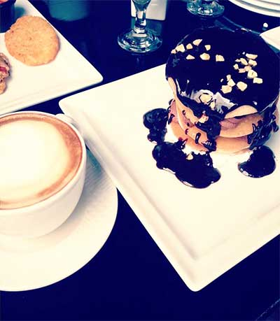 Ferrero Rocher Pancakes and Hazelnut Mocha Coffee - Cosmopolitan Café, Clifton, Karachi