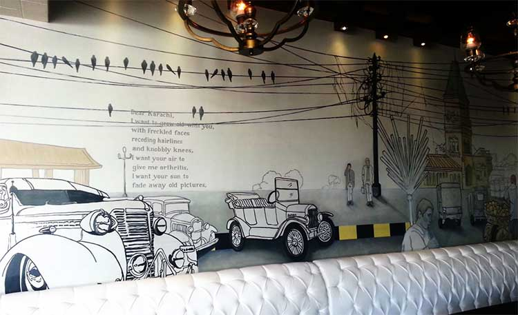 A mural showing the Frere Hall - Cosmopolitan Café, Clifton, Karachi