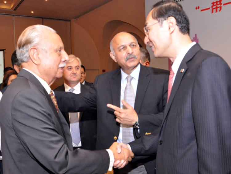 Ex-Speaker National Assembly Gohar Ayub Khan with H.E. Ambassador Sun Weidong and Senator Mushahid Hussain Sayed - Discussion on Belt and Road Initiative at Serena Hotel Islamabad