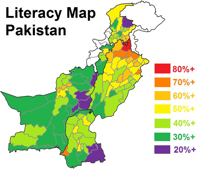 Literacy Map of Pakistan - Education Policy in Pakistan