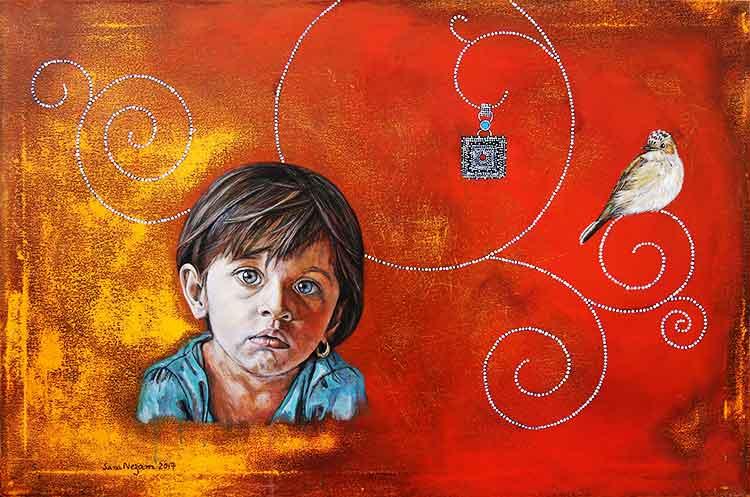 'A Lost Earring' - Sana Nezam - Exhibition Memoir at Grandeur Art Gallery, Karachi