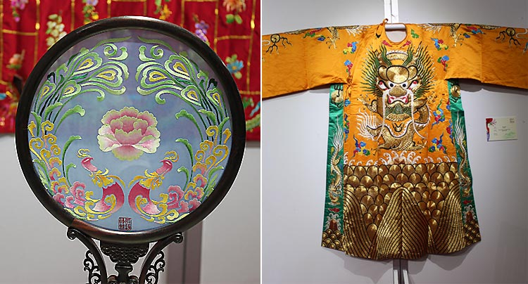 A specimen of double-sided embroidery (left) and dragon robe with silk embroidery (right) - Exhibition of Chinese Silk, Porcelain and Tea at PNCA