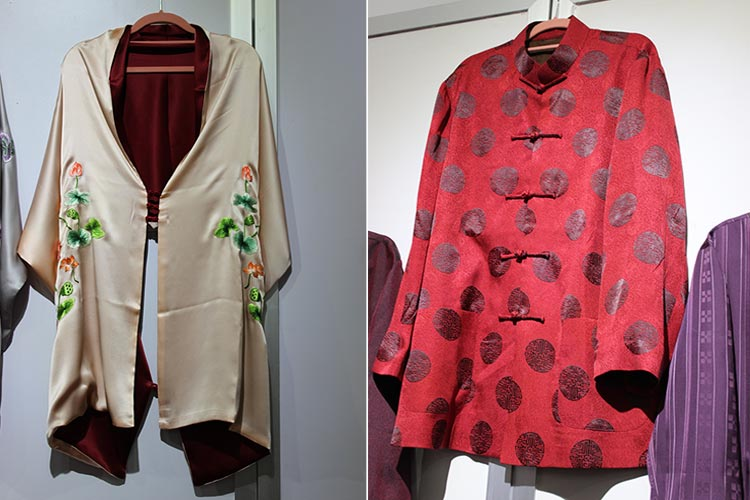 A buttoned up scarf forms a cape and A ceremonial shirt worn by elderly men on their birthdays