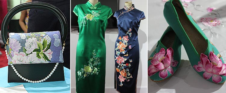 (L - R) Chinese bag, cheongsam and shoes - Exhibition of Traditional Chinese Costumes at PNCA