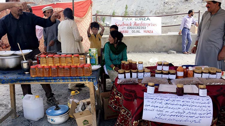 Stall selling Hunza honey - FACE Mela 2017 at Village Passu