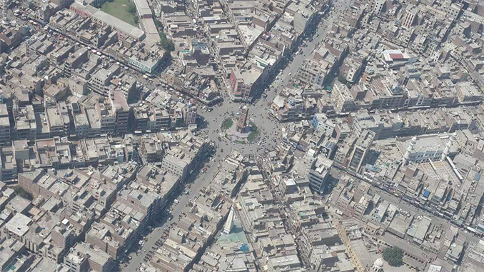 An aerial view of Faisalabad's famous Clock Tower - Faisalabad: Manchester of Pakistan