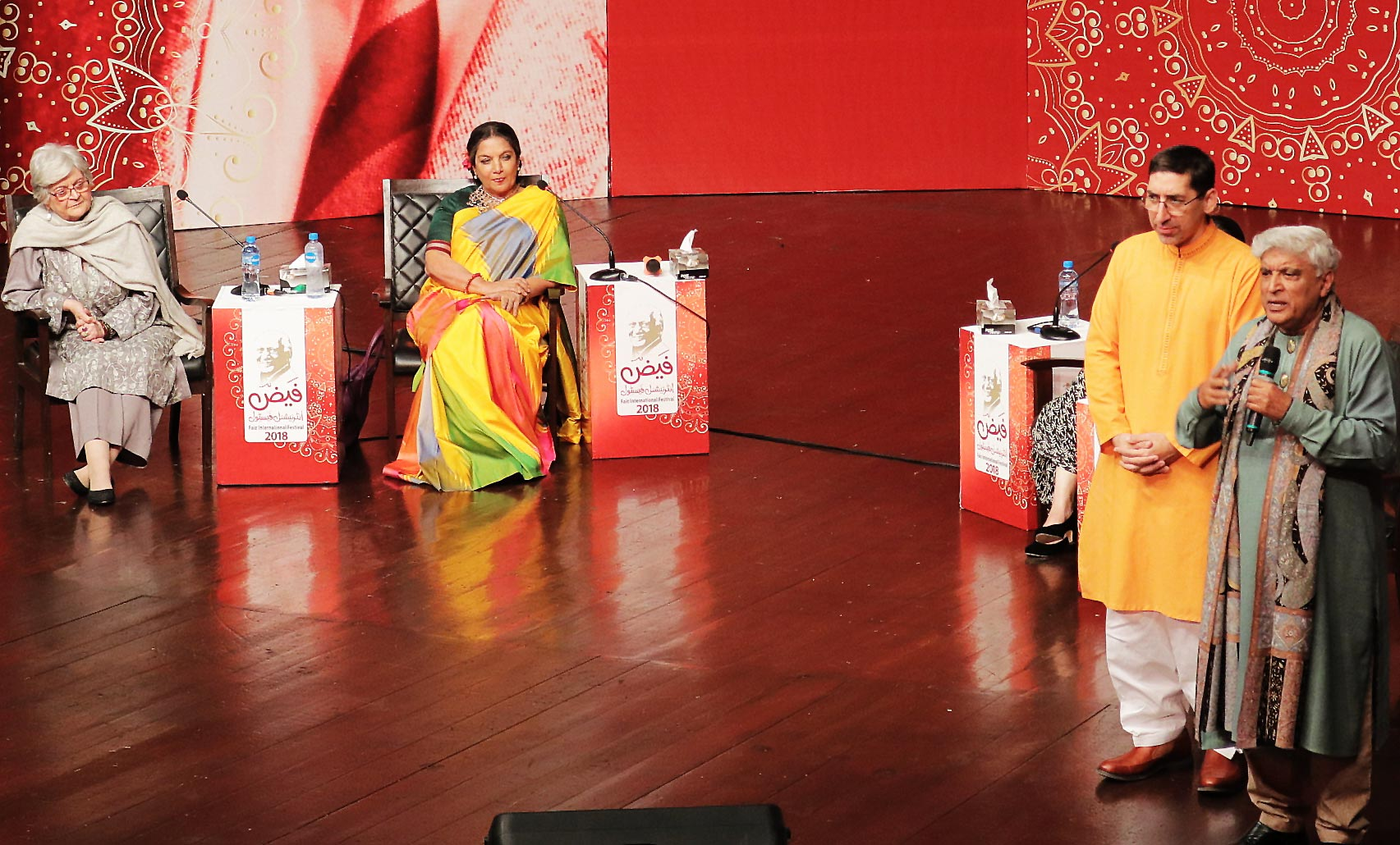 (L-R) Saleema Hashmi, Shabana Azmi, Adeel Hashmi and Javed Akhtar - Faiz International Festival 2018