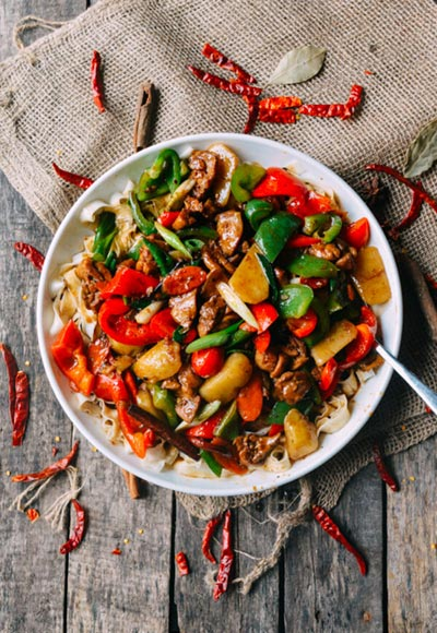 Big-Plate Chicken with Red Peppers (The Woks of Life)