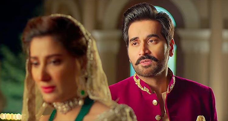 Humayun Saeed as Fawad Khagga and Mehwish Hayat as Amal in the film Punjab Nahi Jaungi