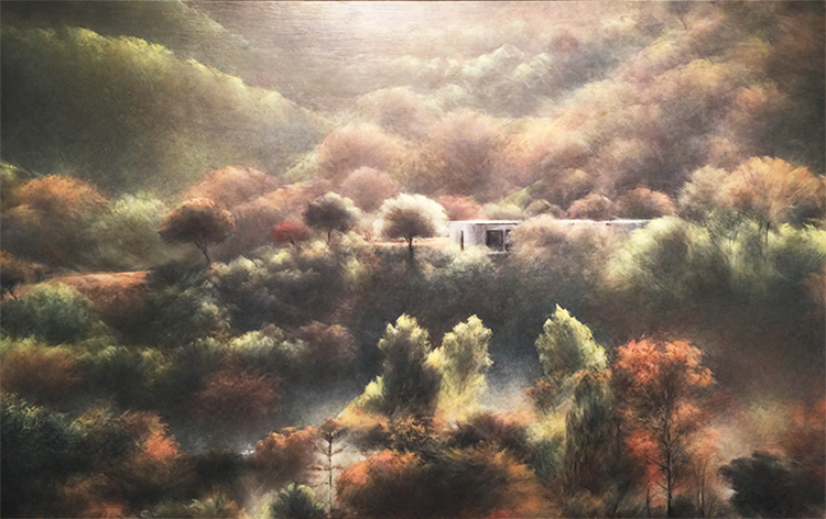 Oil on board, landscape painting by Shahla Rafi - Gallery 6: 9 Narratives Art Exhibition