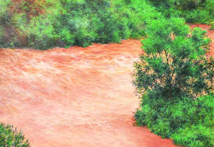 Painting of a 'nullah' during monsoons by Shahla Rafi - Gallery 6 Exhibition Scapes of Pakistan