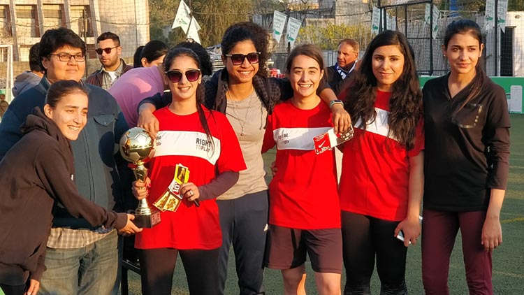 The Young Rising Stars F.C. joined by Hajra Khan, Captain Pakistan National Team, were crowned Champions of the Tournament