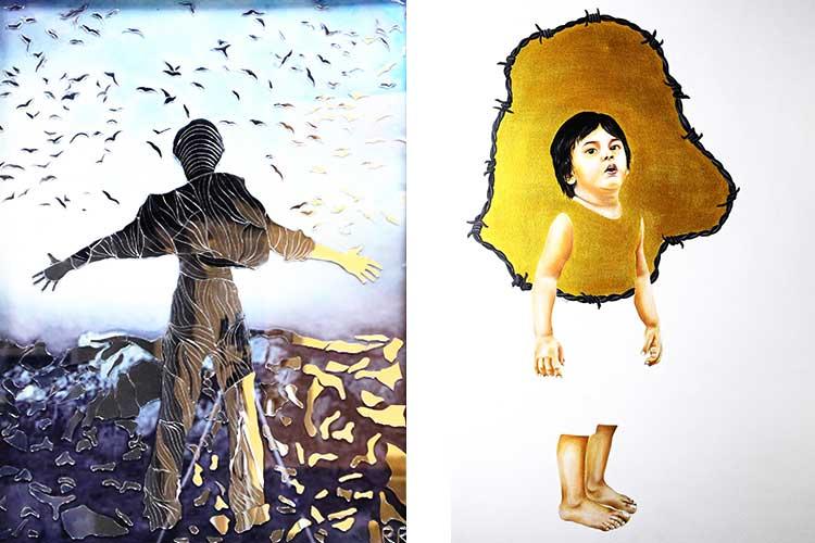 (L) 'Azzad-e-Izhaar' by Rameez, (R) 'Gosh-e-Aafiat' by Hureen Akram - Hum-Kalaam at Studio Seven Gallery Karachi
