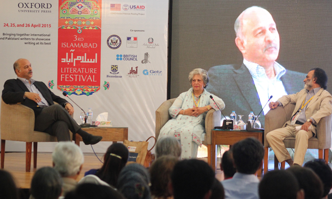 (l-r) Senator Mushahid Hussain Sayed, Syeda Abida Hussain and Abbas Rashid - ILF 2015 - Day 2: Power Failure: The Political Odyssey of a Pakistani Woman