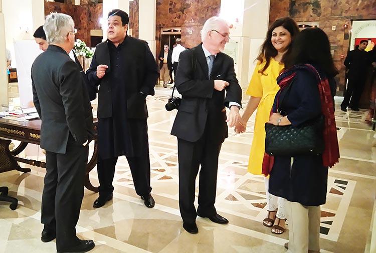 Director Satrang Art Gallery, Asma Rashid Khan, welcoming guests at the opening