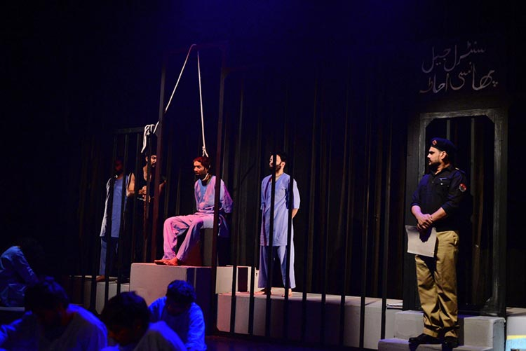 Sajid Ali at the execution stand - Intezaar by Ajoka Theatre at Alhamra Art Council