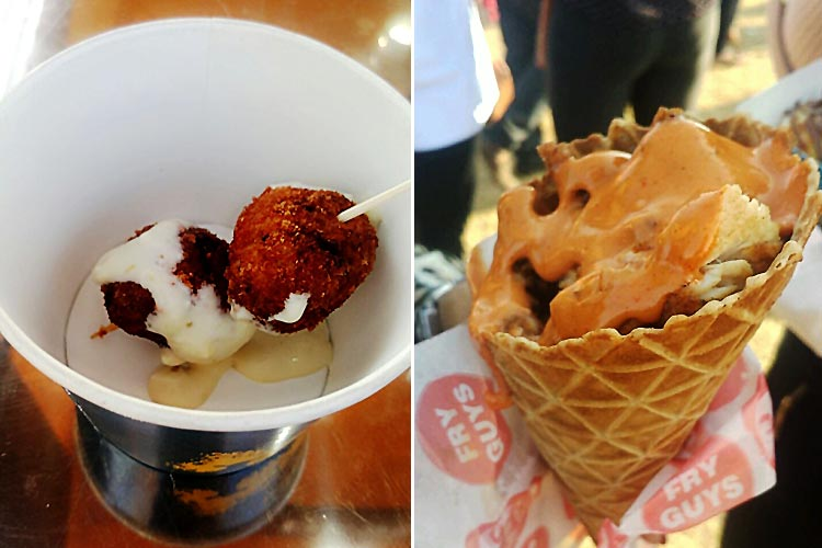 Cheeseballs at the Nurpur Stall and Deep Fried Chicken in a Waffle Cone by Fry Guys