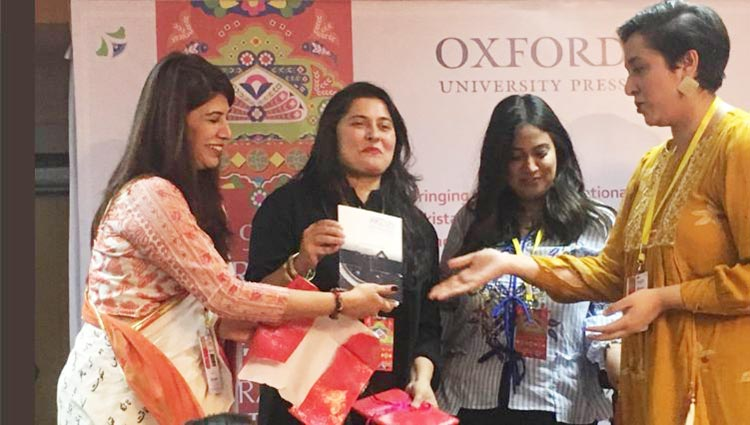 (L-R) Sabyn Javeri and Sharmeen Obaid Chinoy at the launch of Arzu Anthology (Source: Catherine M King) - Karachi Literature Festival 2018