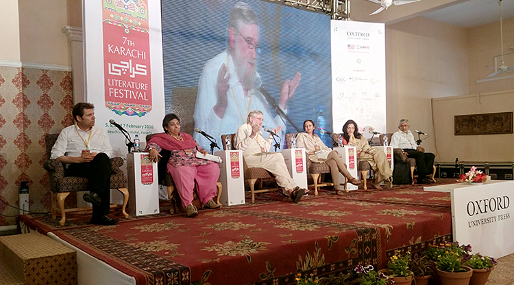 (l-r) - Olivier Truc, Shaheen Attiq-ur-Rahman, John O'Brien, Nazish Brohi, Reema Abbasi & Sono Khangharani - KLF Day 3: The White Stripe on the National Flag
