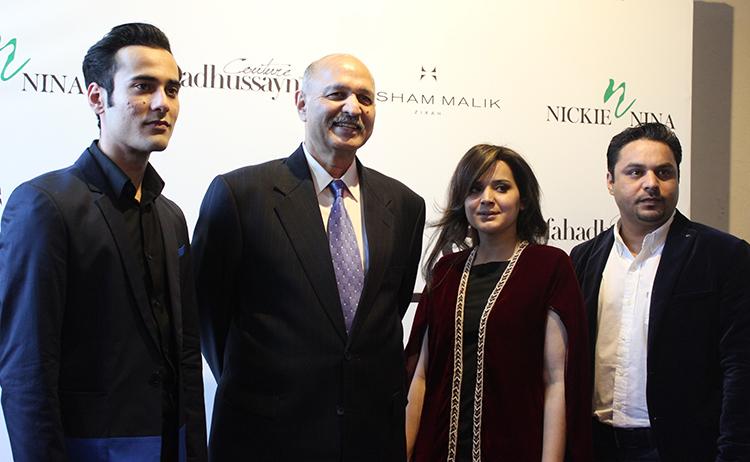 (l-r) Hisham Malik, Senator Mushahid Hussain, Amna Badar - Labels Store Islamabad