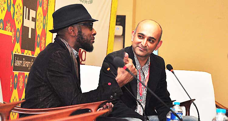 Teju Cole with Mohsin Hamid at LLF 2017 (source: Pakistan Today) - Lahore Literary Festival (LLF) 2017