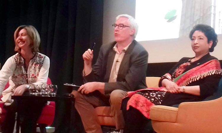 (L-R) Christina Lamb, Owen Bennett-Jones and Ambassador Dr. Maleeha Lodhi - Lahore Literary Festival, London 2017