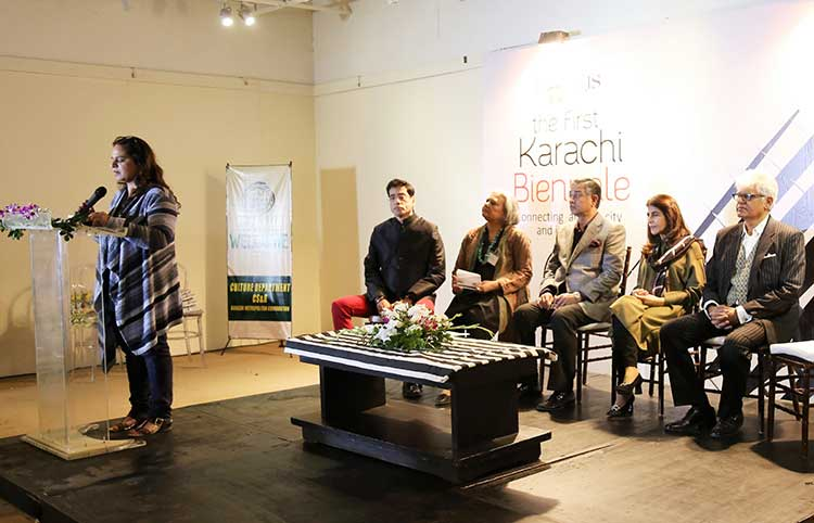 Attequa Malik (Trustee KBT) addressing the audience (photo: Jamal Ashiqain) - Launch of Karachi Biennale 2017