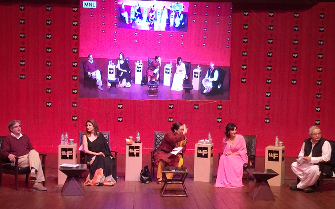 (l-r) Yasser Hashmi, Mina Hassan, Jugnu Mohsin, Nazia Ejaz and Hameed Haroon - LLF 2015 Day 3 Session: Malika-e-Tarannum Noor Jahan: the Empress of Song