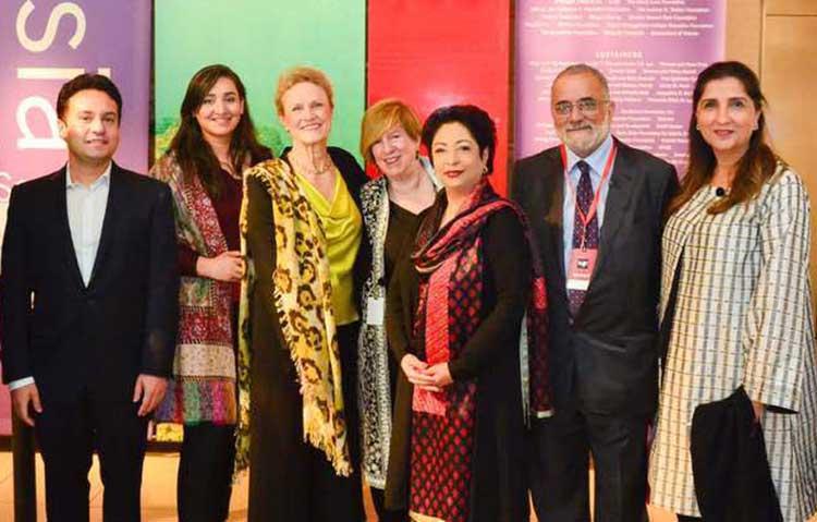 (L – R) Razi Ahmed, Sabeen, Robin Raphel, Rachel Cooper, Dr. Maleeha Lodhi, Ahmed Rashid and Aneela Shah - LLF New York 2017