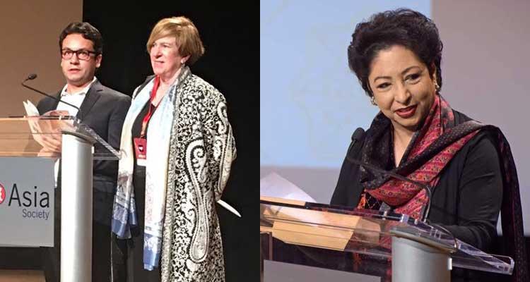 (L-R) Razi Ahmed, Rachel Cooper and Ambassador Dr. Maleeha Lodhi at LLF New York 2017 - Lahore Literary Festival New York 2017