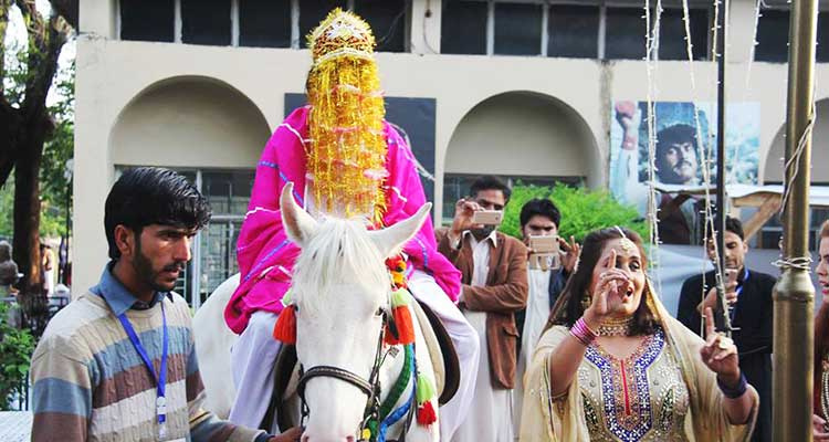 Traditional baraat celebration at the festival - Lok Mela 2017 at Lok Virsa, Islamabad