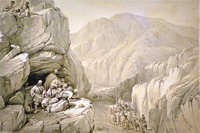 A sketch of the Wild Pass of Siri Kajoor, Afghanistan - Mohatta Palace Museum