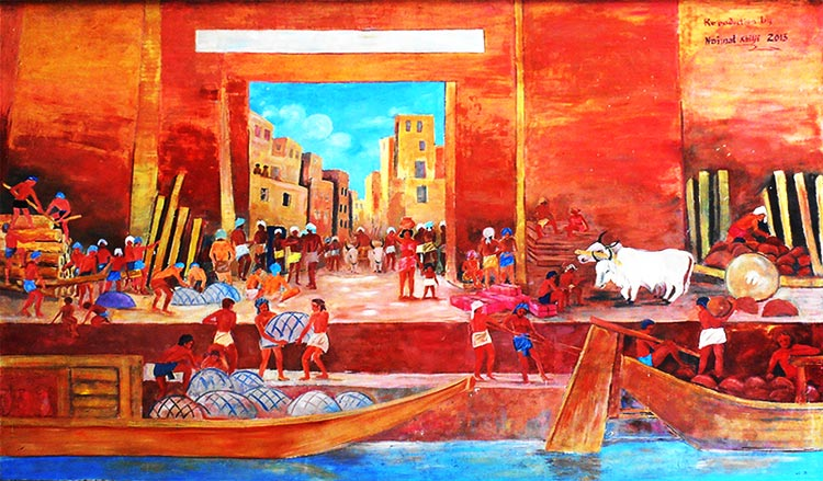 A painting that depicts the lifestyle of the inhabitants of Mohenjo Daro - Mohenjo Daro: An Ancient Gem of the Indus Valley Civilization