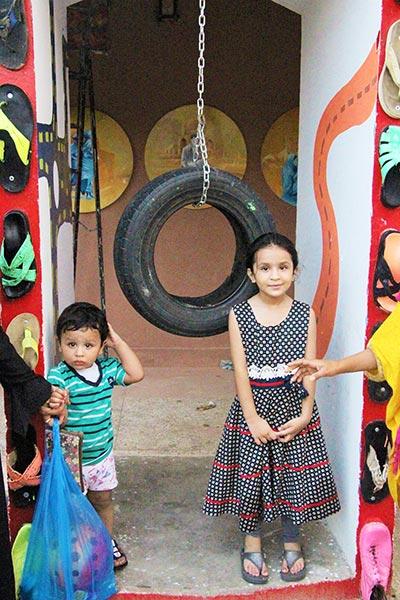 Children visit the site