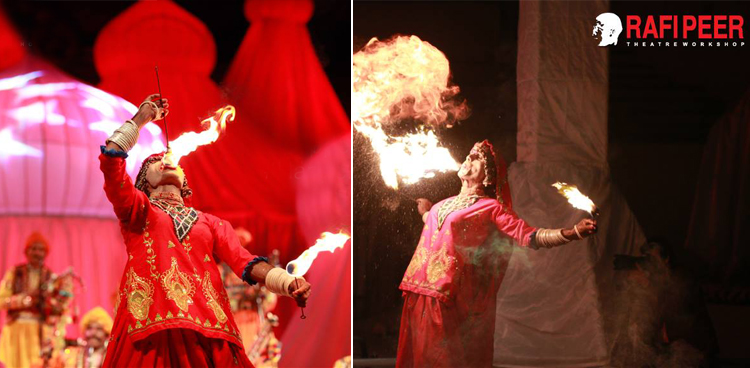 Fire show during Krishan Lal Bheel's performance - Mystic Music Sufi Festival 2015 in Lahore