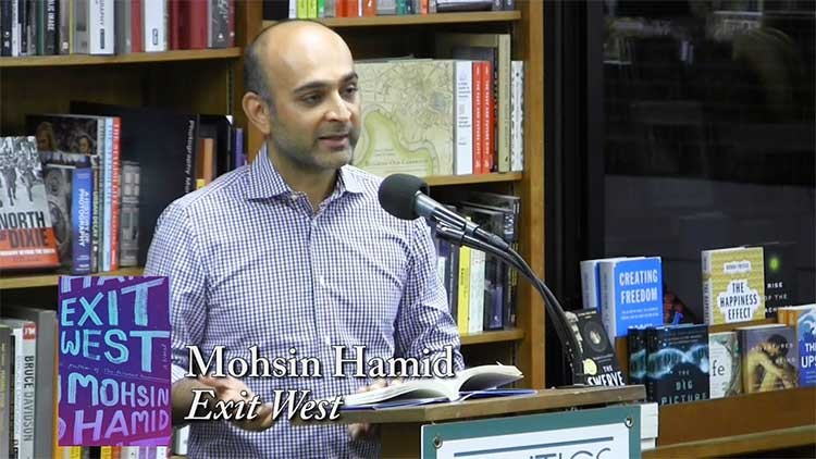 Mohsin Hamid discusses 'Exit West' at the Politics and Prose Bookstore in Washington, D.C. (source: 'Politics and Prose', YouTube) - Novel 'Exit West' by Mohsin Hamid