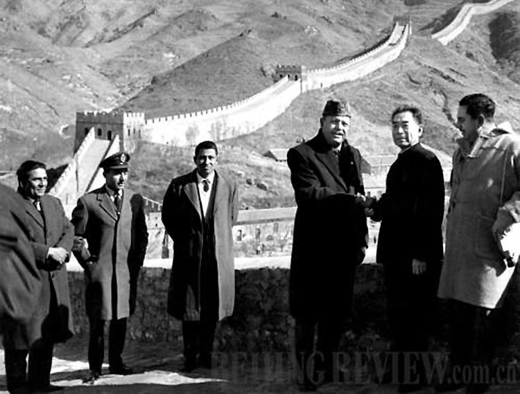 Chinese Premier Zhou Enlai (second right) accompanies Pakistani President Ayub Khan and his delegation visiting the Great Wall in March 1965 (Source: Beijing Review) - Pak-China People to People Historic Relations, since 1965