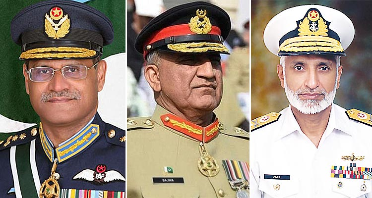 Air Chief Marshal Sohail Aman, Chief of Air Staff (left), General Qamar Javed Bajwa, Chief of Army Staff (center), Admiral Mohammad Zakaullah, Chief of Naval Staff (right)
