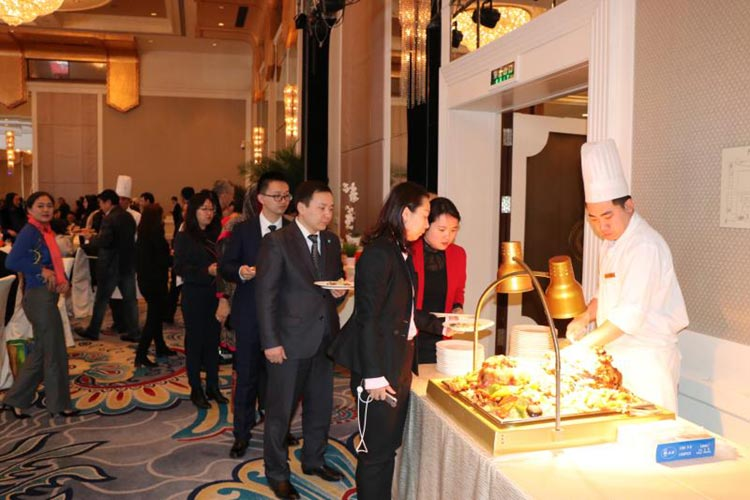 Guests queuing to try food